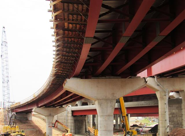 Completed structural steel erection for the I-91 Southbound to Route 34 Westbound bridge over Water Street