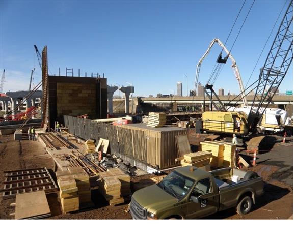 Bridge abutment under construction for I-95