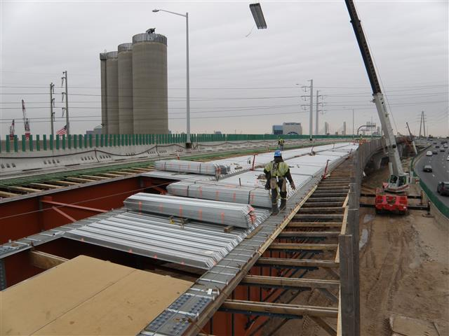 Installation of concrete deck forms for second half of I-95 Northbound east approach