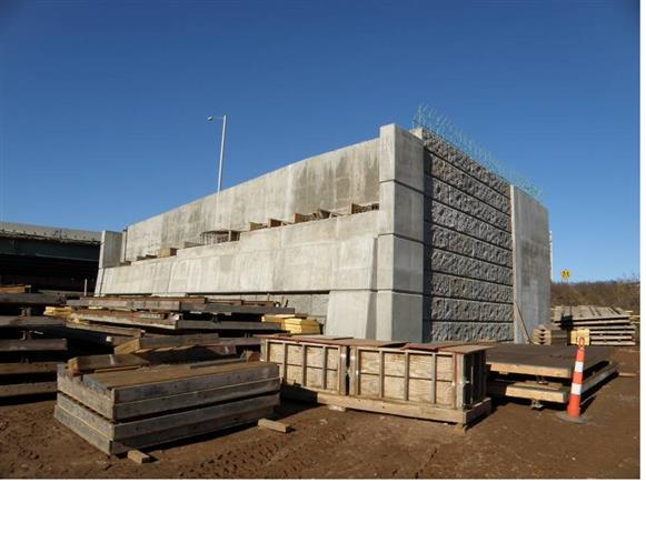 New bridge abutment for the I-95 Northbound to I-91 Northbound ramp