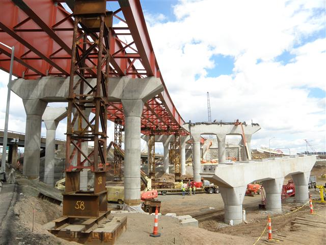 Structural steel and concrete piers for the I-95/I-91/Route 34 Interchange