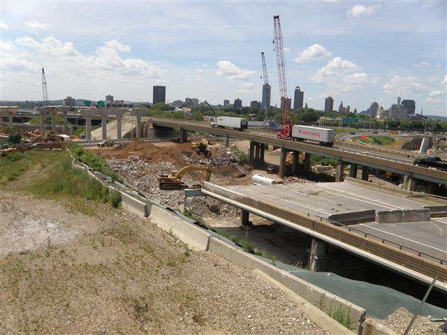 Demolition of existing I-95 Northbound leading up to the existing Q-Bridge.