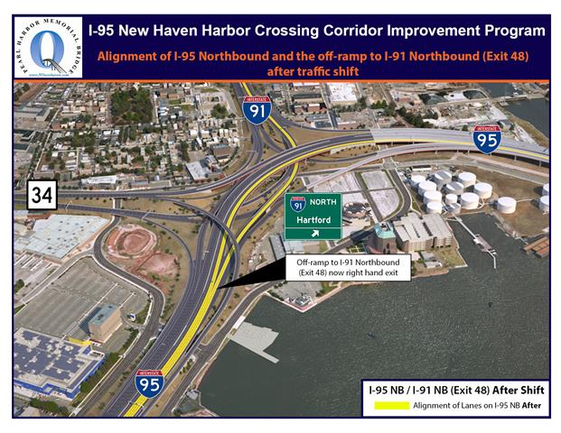 After the I-95 Northbound traffic shift the exit to I-91 Northbound (Exit 48) will be on the right.