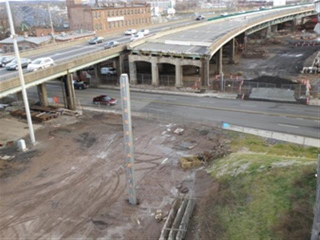 Demolition of the original Q Bridge on I-95 Northbound going over East Street