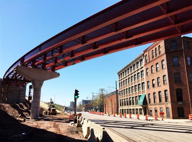 View of the structural steel that will support I-91 SB to Route 34 WB traffic over Water Street