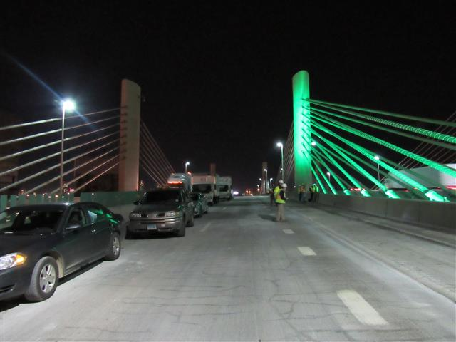 Testing new LED lighting on the Pearl Harbor Memorial Bridge