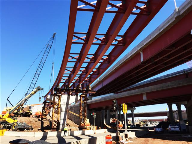 View of the ongoing construction for the bridge that will carry I-91 SB to Route 34 WB traffic over Water Street (at left) adjacent to the I-95 SB to Route 34 WB bridge and I-91 SB to I-95 SB bridge (at right)