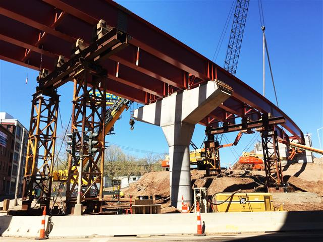 Ongoing structural steel erection for bridge that support I-91 SB to Route 34 WB traffic over Water Street