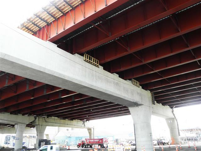 View of the I-95 Southbound Pearl Harbor Memorial (Q) Bridge East Approach Structure