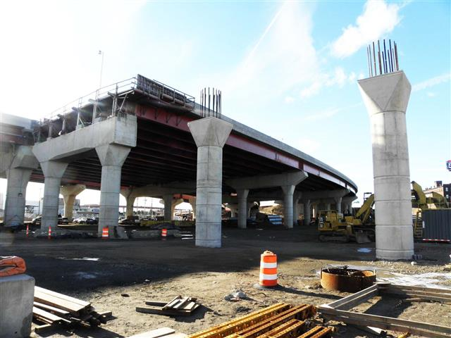 I-95 Southbound Pearl Harbor Memorial (Q) Bridge West Approach Structure construction