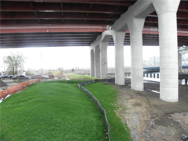Environmental restoration area under the I-95 Q-Bridge East Approach Structure