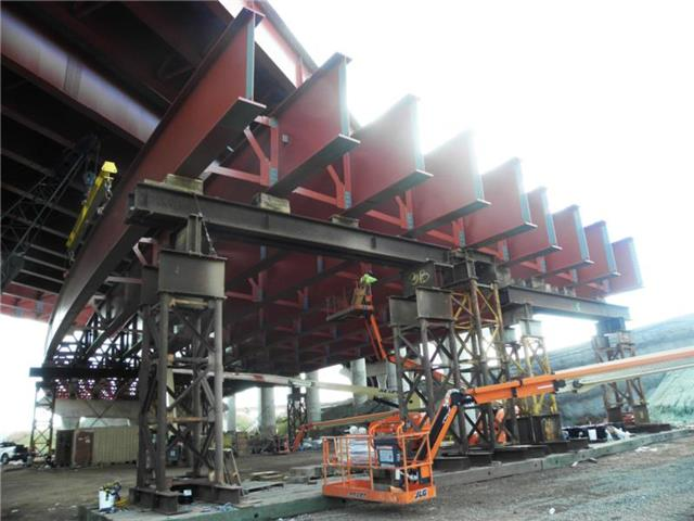 Structural steel erection in progress with temporary supports for the future I-95 NB to I-91 NB bridge