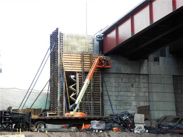 Construction of the abutment that will support the completed I-95 SB to Route 34 WB bridge
