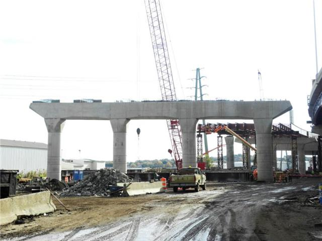 Concrete pier for the new I-95 SB Q-Bridge West Approach Structure